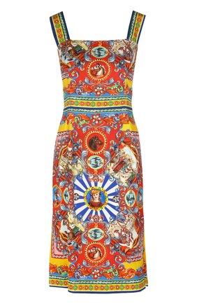 Приталенное платье на бретельках с ярким принтом | Фото №1