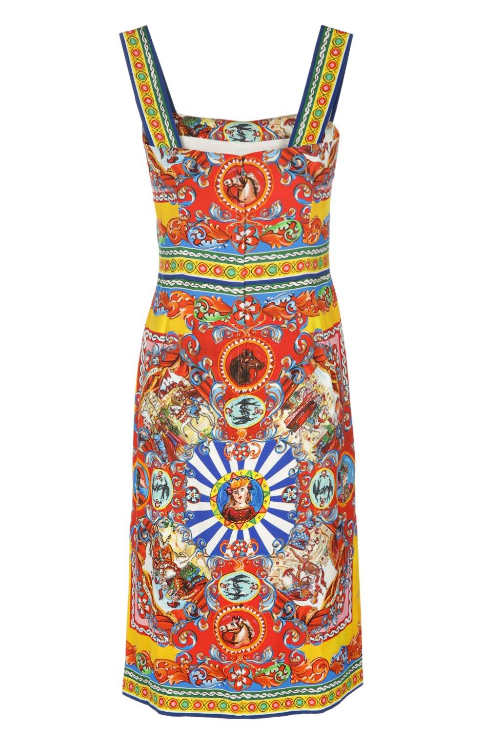 Приталенное платье на бретельках с ярким принтом | Фото №2