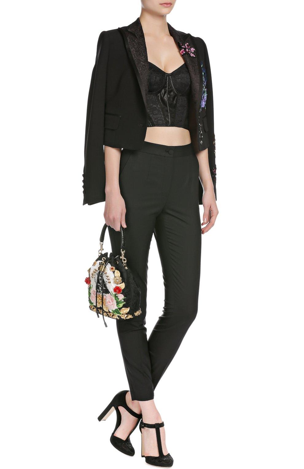 Брюки-скинни с завышенной талией Dolce & Gabbana черные | Фото №4