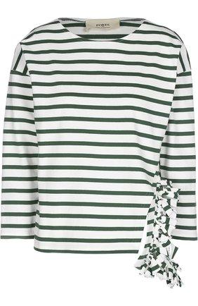 Топ асимметричного кроя в полоску с декорированным карманом Ports 1961 белый   Фото №1