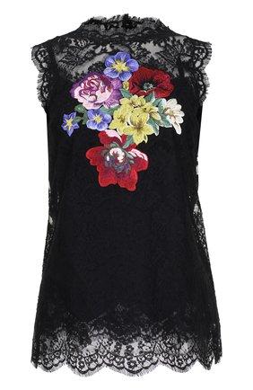 Кружевной топ без рукавов с вышивкой Dolce & Gabbana черный | Фото №1
