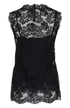 Кружевной топ без рукавов с вышивкой Dolce & Gabbana черный | Фото №2