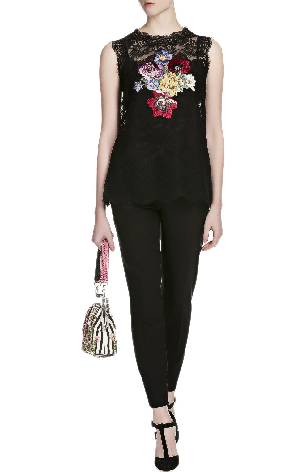 Кружевной топ без рукавов с вышивкой Dolce & Gabbana черный | Фото №4