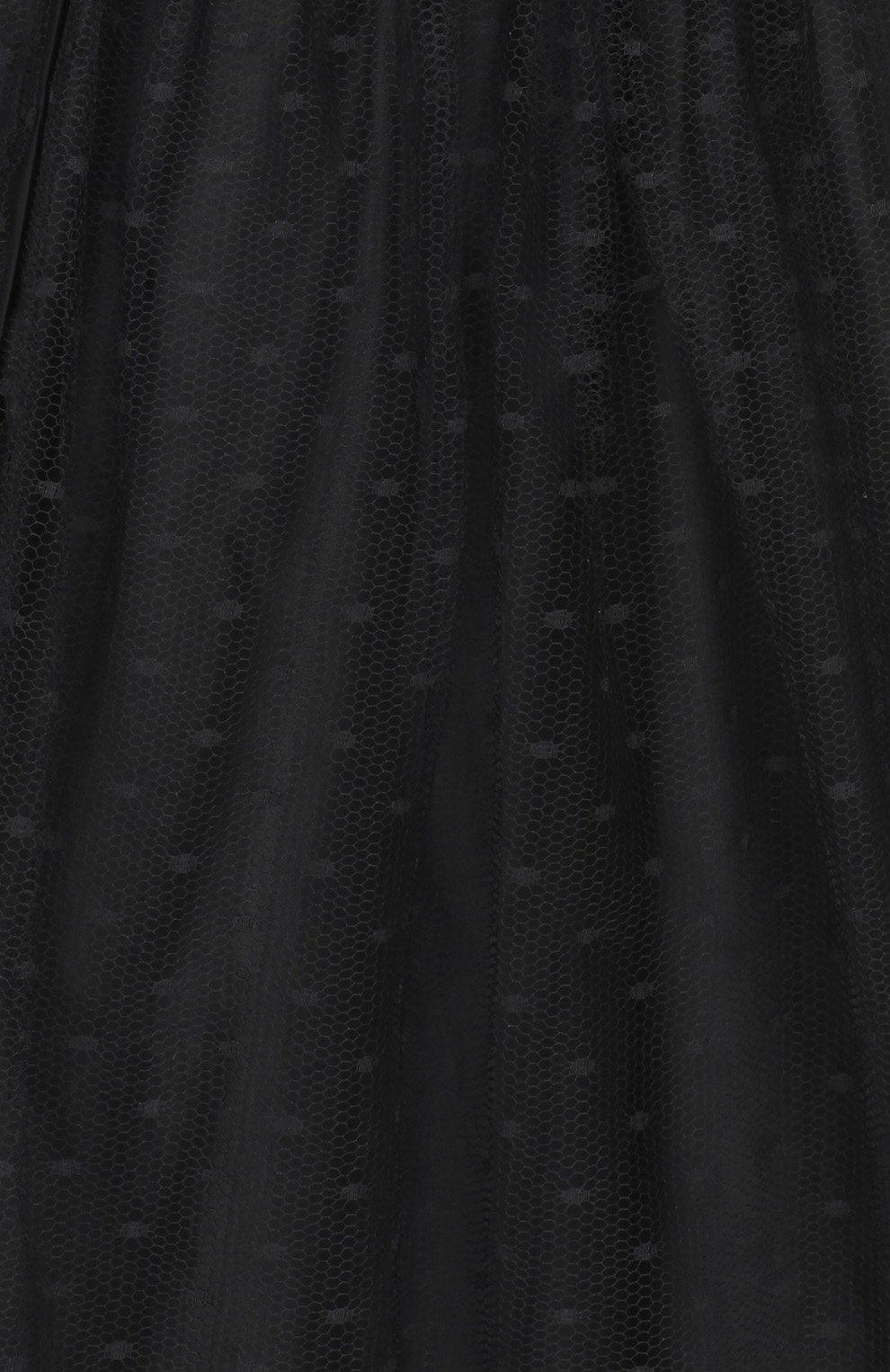 Юбка-миди с бантом и сеткой REDVALENTINO черная | Фото №3
