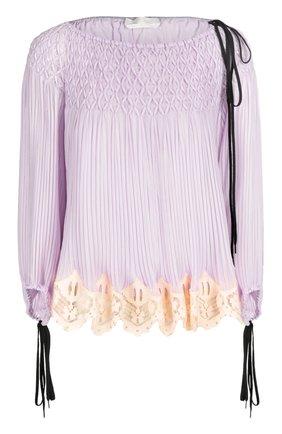 Плиссированная блуза с вырезом-лодочка и шнуровкой | Фото №1