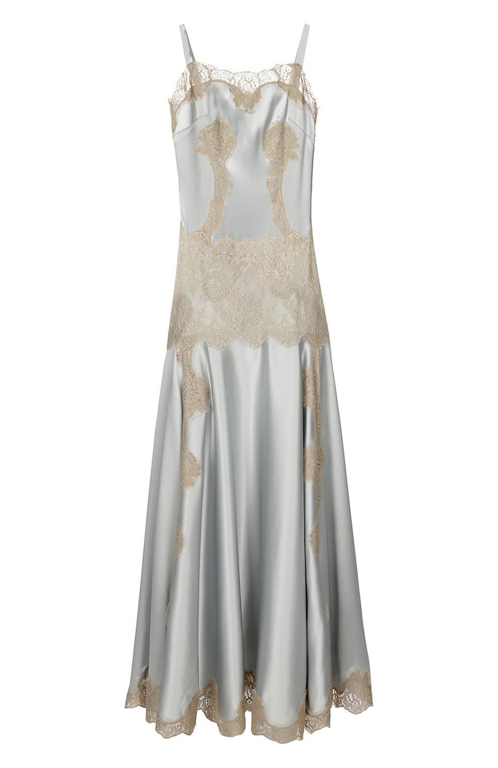 Платье-комбинация в пол с кружевной вставкой | Фото №1