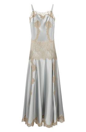 Платье-комбинация в пол с кружевной вставкой Dolce & Gabbana голубое | Фото №1