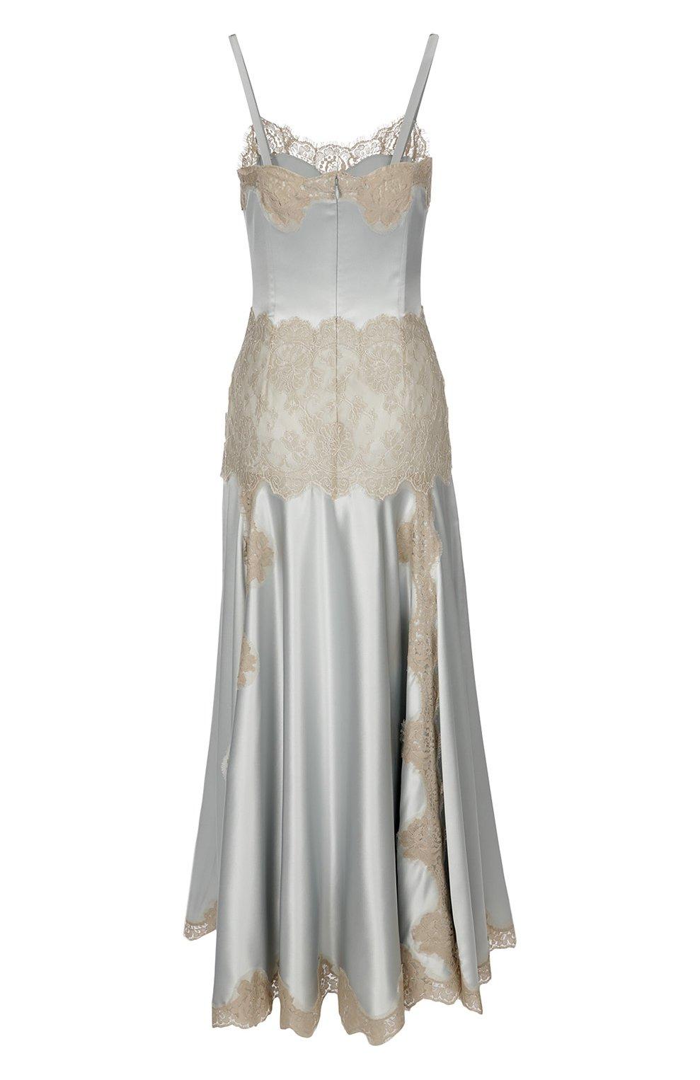 Платье-комбинация в пол с кружевной вставкой Dolce & Gabbana голубое | Фото №2