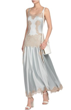 Платье-комбинация в пол с кружевной вставкой Dolce & Gabbana голубое | Фото №4