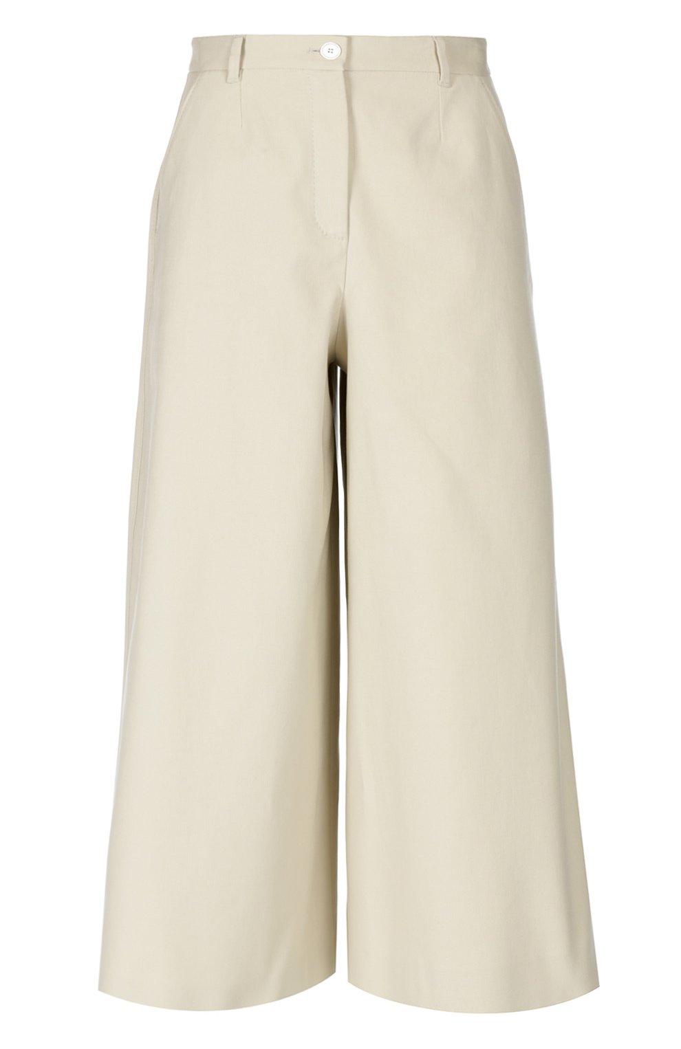 Укороченные широкие брюки с завышенной талией | Фото №1