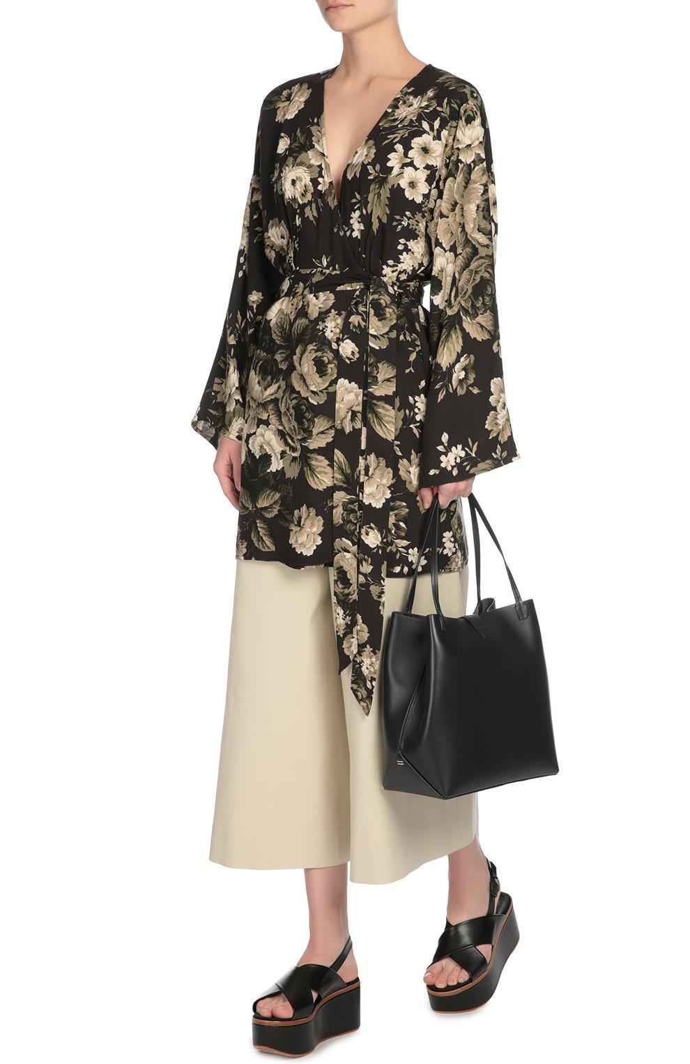 Укороченные широкие брюки с завышенной талией Dolce & Gabbana бежевые | Фото №4