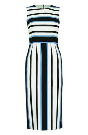 Приталенное платье без рукавов в полоску Dolce & Gabbana синее | Фото №1