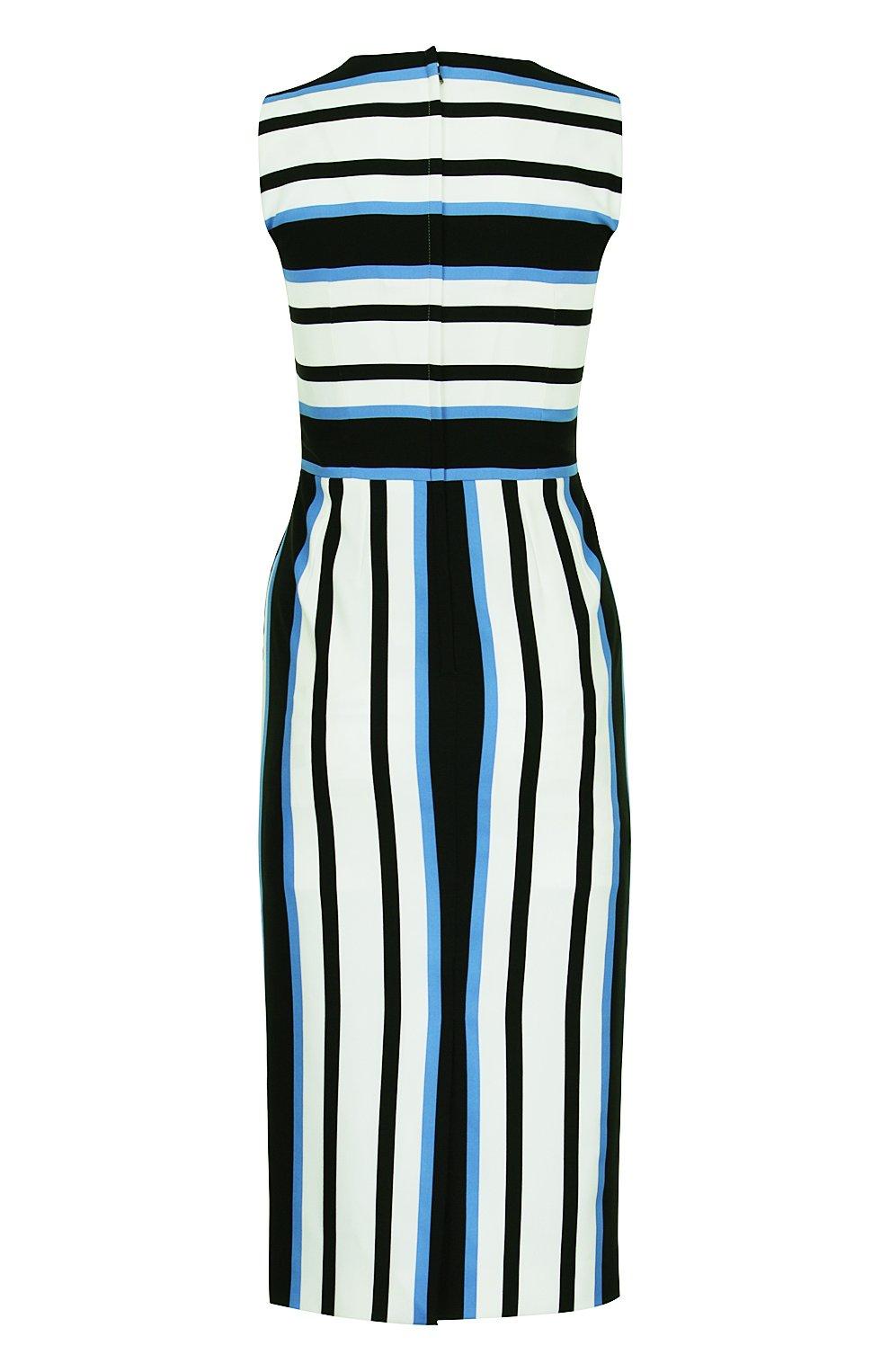 Приталенное платье без рукавов в полоску Dolce & Gabbana синее | Фото №2