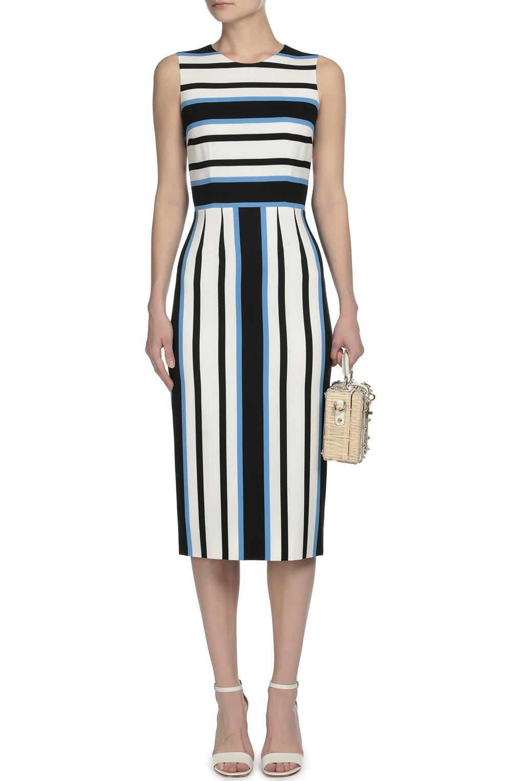 Приталенное платье без рукавов в полоску Dolce & Gabbana синее | Фото №4