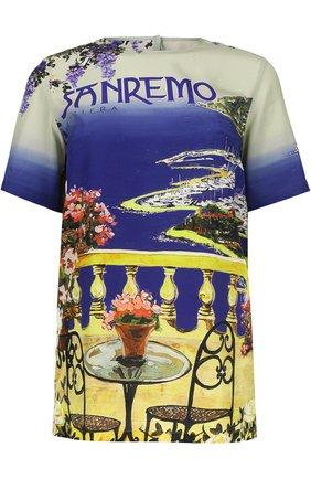 Шелковый топ прямого кроя с ярким принтом Dolce & Gabbana разноцветный | Фото №1