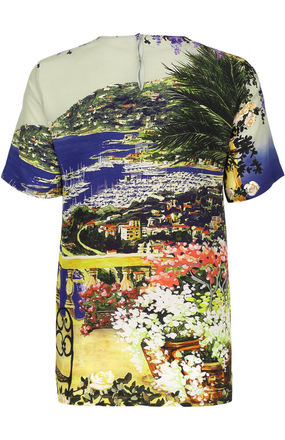 Шелковый топ прямого кроя с ярким принтом Dolce & Gabbana разноцветный | Фото №2