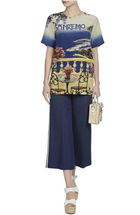 Шелковый топ прямого кроя с ярким принтом Dolce & Gabbana разноцветный | Фото №4