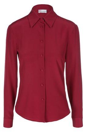 Шелковая приталенная блуза REDVALENTINO бордовая | Фото №1