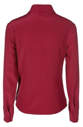 Шелковая приталенная блуза REDVALENTINO бордовая | Фото №2