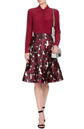 Шелковая приталенная блуза REDVALENTINO бордовая | Фото №4