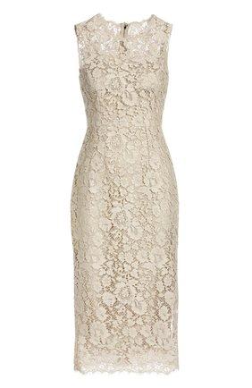 Приталенное кружевное платье Dolce & Gabbana бежевое   Фото №1