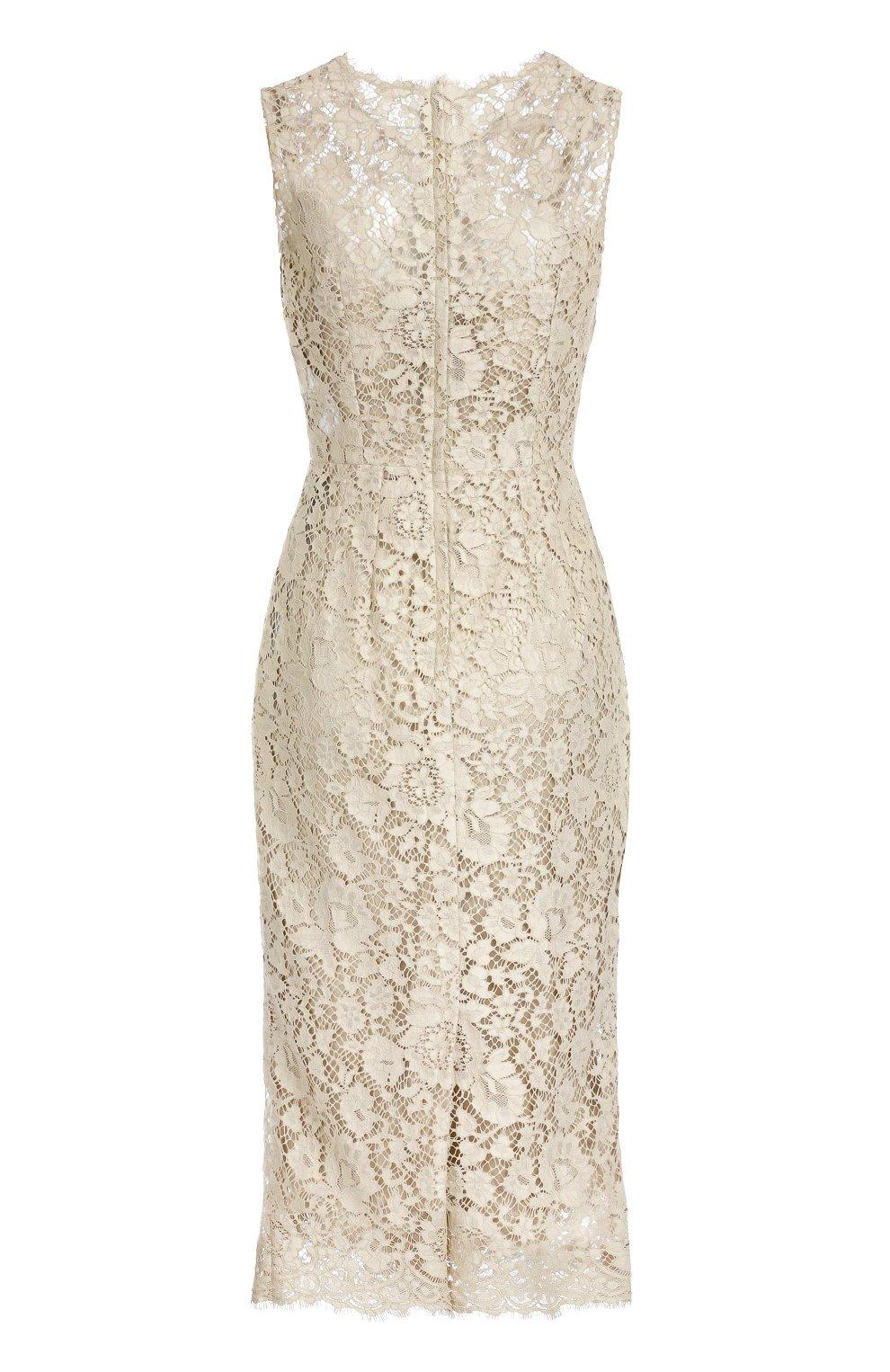 Приталенное кружевное платье Dolce & Gabbana бежевое   Фото №2