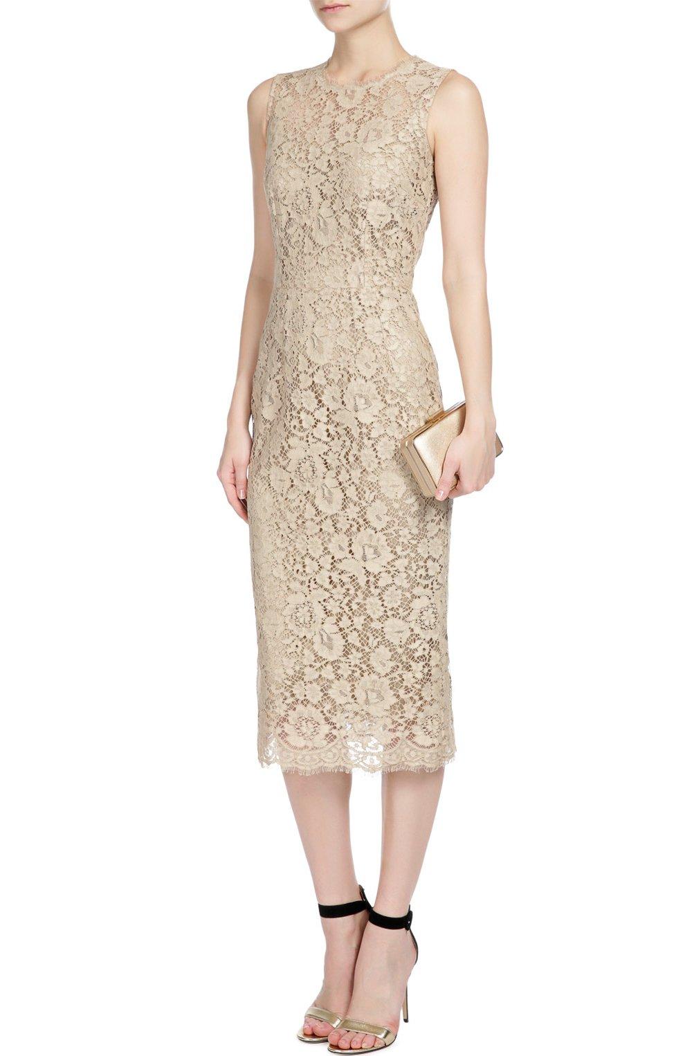 Приталенное кружевное платье Dolce & Gabbana бежевое   Фото №4