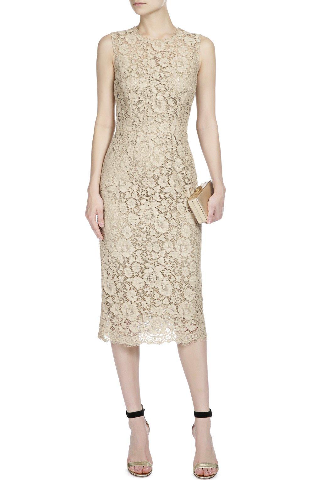 Приталенное кружевное платье Dolce & Gabbana бежевое   Фото №5