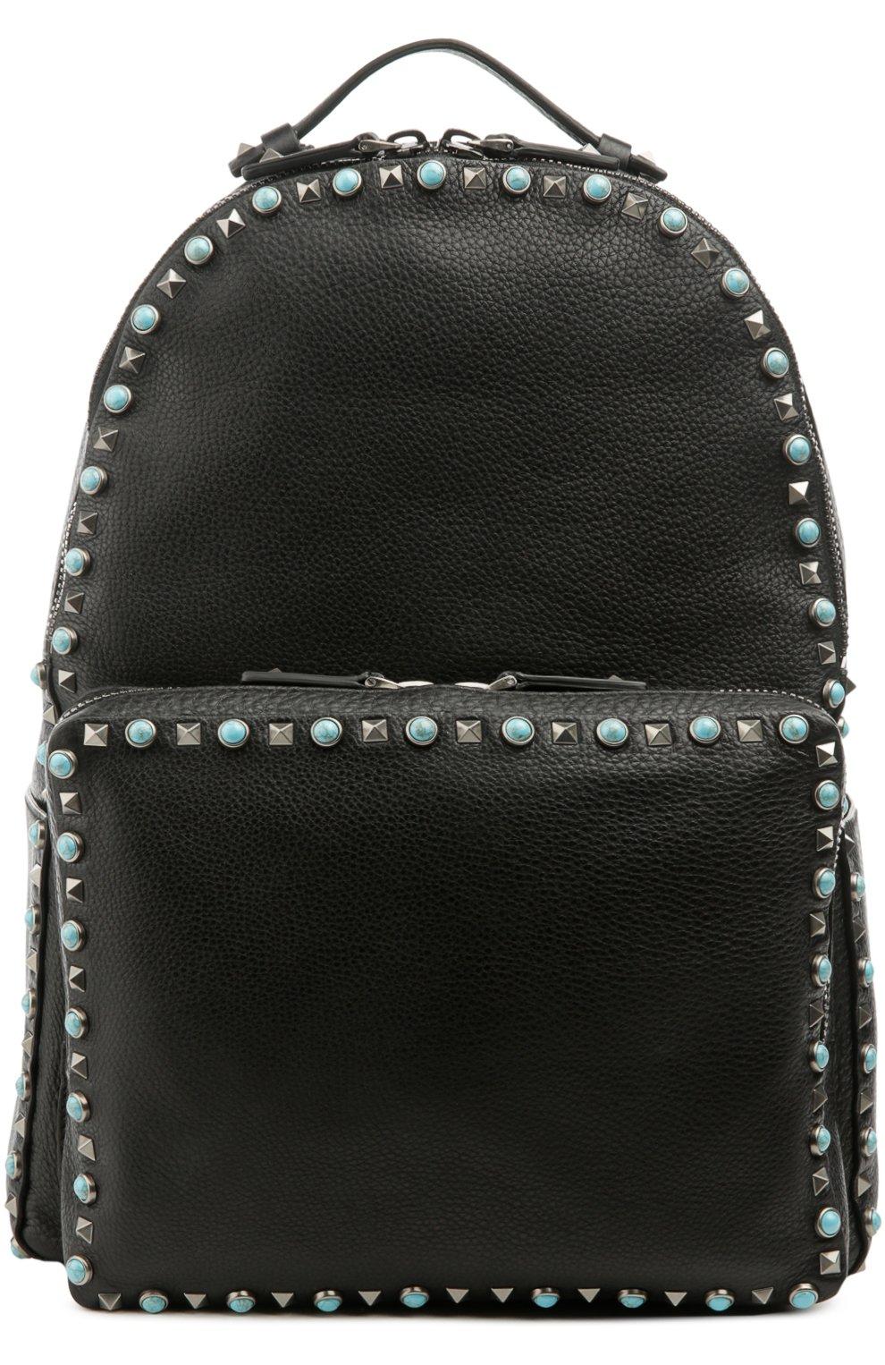 Мужской черный кожаный рюкзак valentino garavani с металлической ... 0a0cc48cfb7