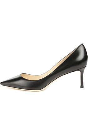 Женская кожаные туфли romy на шпильке JIMMY CHOO черного цвета, арт. R0MY 60/KID | Фото 1