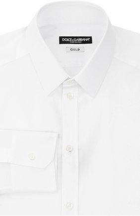 Мужская хлопковая сорочка с воротником кент  DOLCE & GABBANA белого цвета, арт. 0101/G5DE1T/FUECM | Фото 1