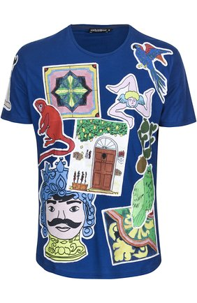 Хлопковая футболка с принтом Dolce & Gabbana синяя | Фото №1