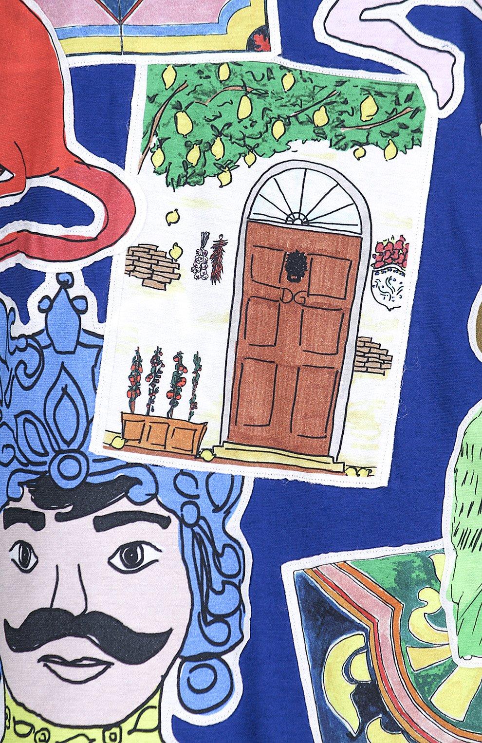 Хлопковая футболка с принтом Dolce & Gabbana синяя | Фото №3