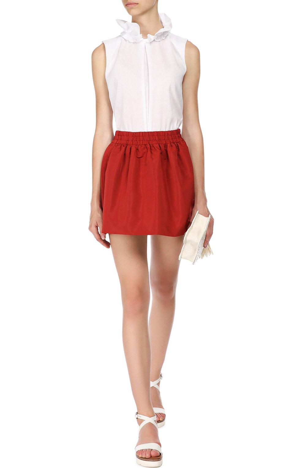 Мини юбка-тюльпан с эластичным поясом REDVALENTINO бордовая | Фото №2