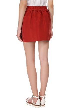 Мини юбка-тюльпан с эластичным поясом REDVALENTINO бордовая | Фото №3
