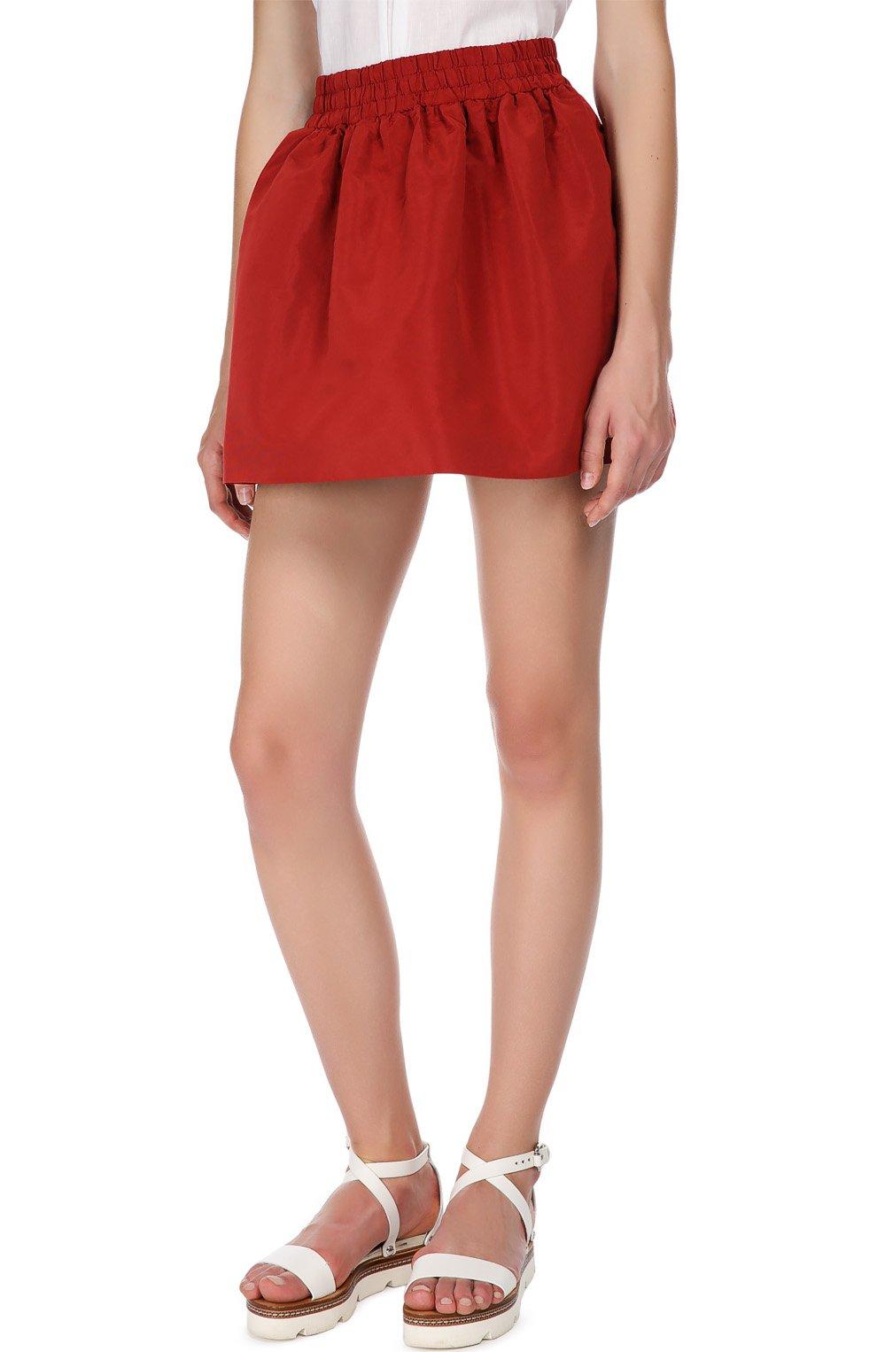 Мини юбка-тюльпан с эластичным поясом REDVALENTINO бордовая | Фото №4