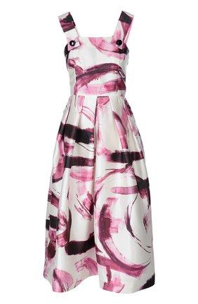 Шелковый приталенный сарафан с ярким принтом Dolce & Gabbana бордовое | Фото №1