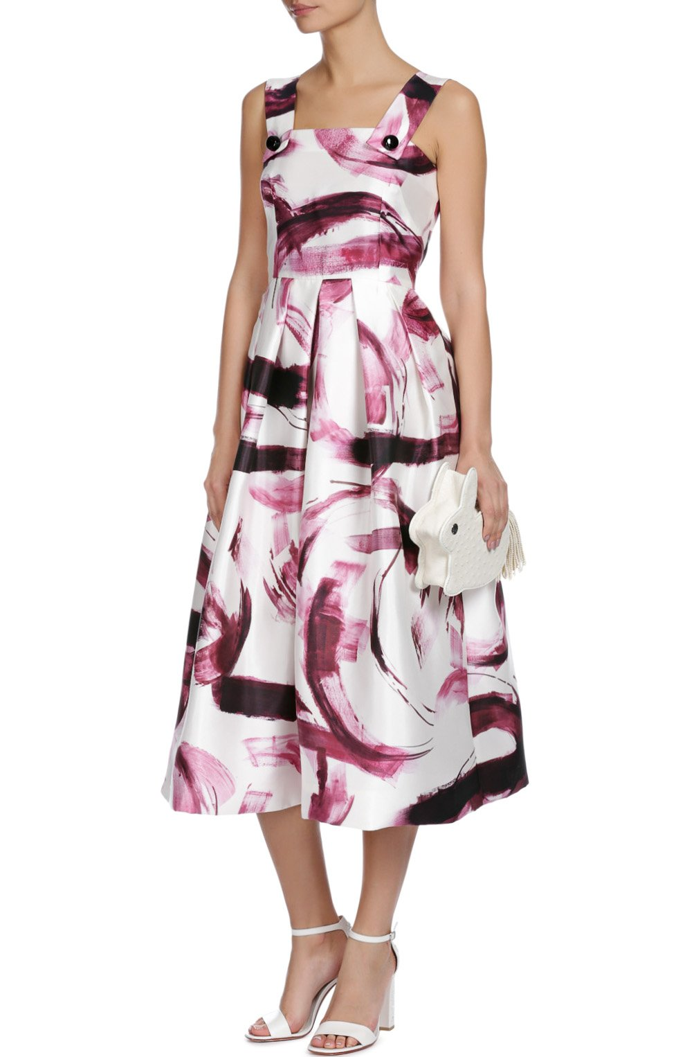 Шелковый приталенный сарафан с ярким принтом Dolce & Gabbana бордовое | Фото №4