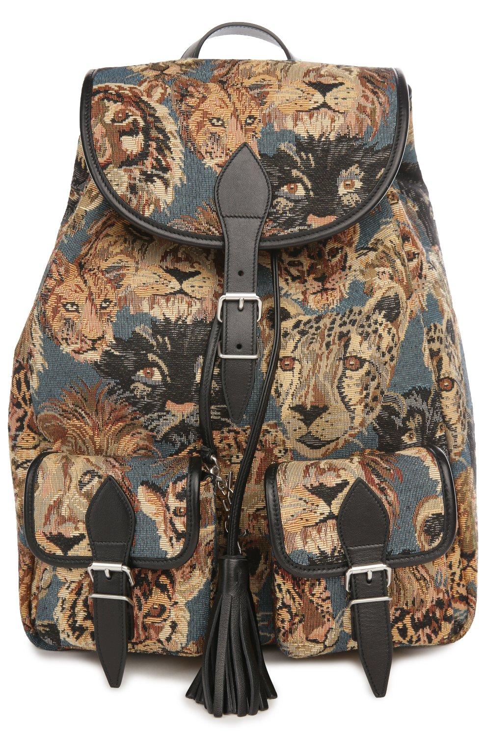 Рюкзак с отделкой из кожи и принтом   Фото №1