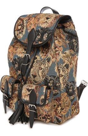 Рюкзак с отделкой из кожи и принтом   Фото №2