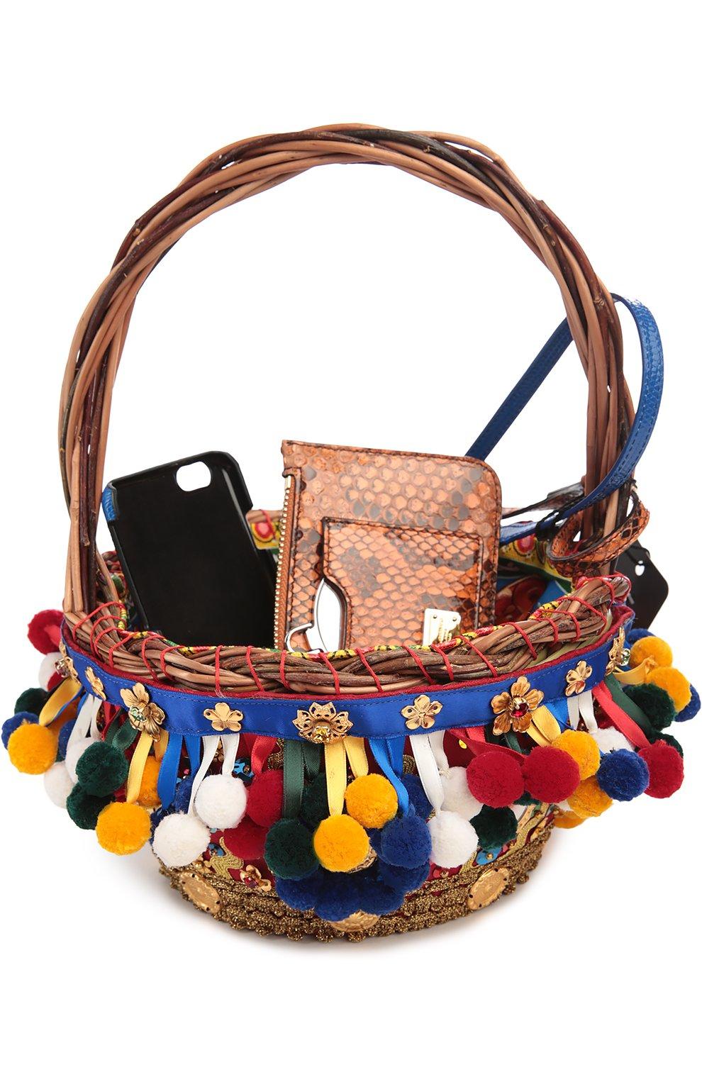 Плетеная сумка-корзинка Agnese с аксессуарами из кожи питона и игуаны | Фото №1
