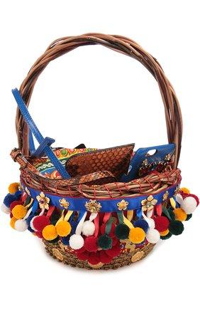 Плетеная сумка-корзинка Agnese с аксессуарами из кожи питона и игуаны Dolce & Gabbana разноцветная цвета | Фото №2