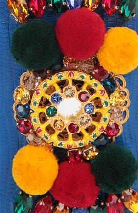 Плетеная сумка-корзинка Agnese с аксессуарами из кожи питона и игуаны Dolce & Gabbana разноцветная цвета | Фото №9