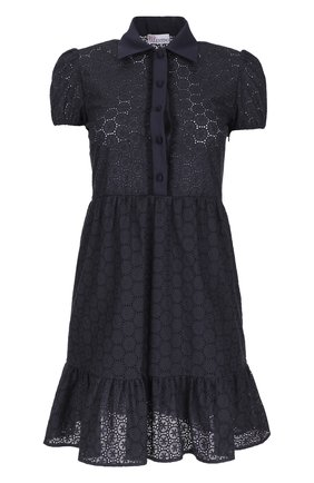 Кружевное приталенное платье-рубашка REDVALENTINO черное   Фото №1