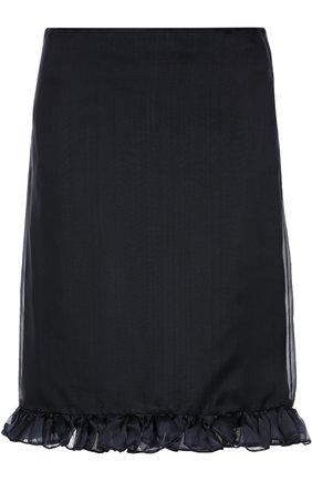 Шелковая юбка-миди с оборками Aquilano Rimondi темно-синяя | Фото №1