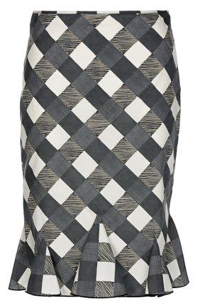 Облегающая юбка в клетку Aquilano Rimondi черно-белая | Фото №1