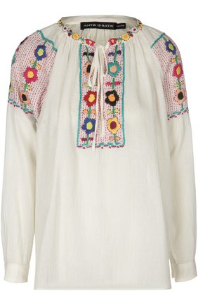 Блуза с контрастной вышивкой и круглым вырезом | Фото №1