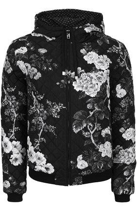 Стеганый бомбер с принтом и капюшоном Dolce & Gabbana черно-белая | Фото №1