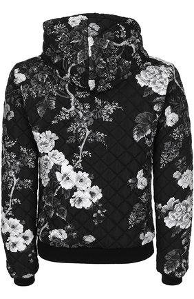 Стеганый бомбер с принтом и капюшоном Dolce & Gabbana черно-белая | Фото №2