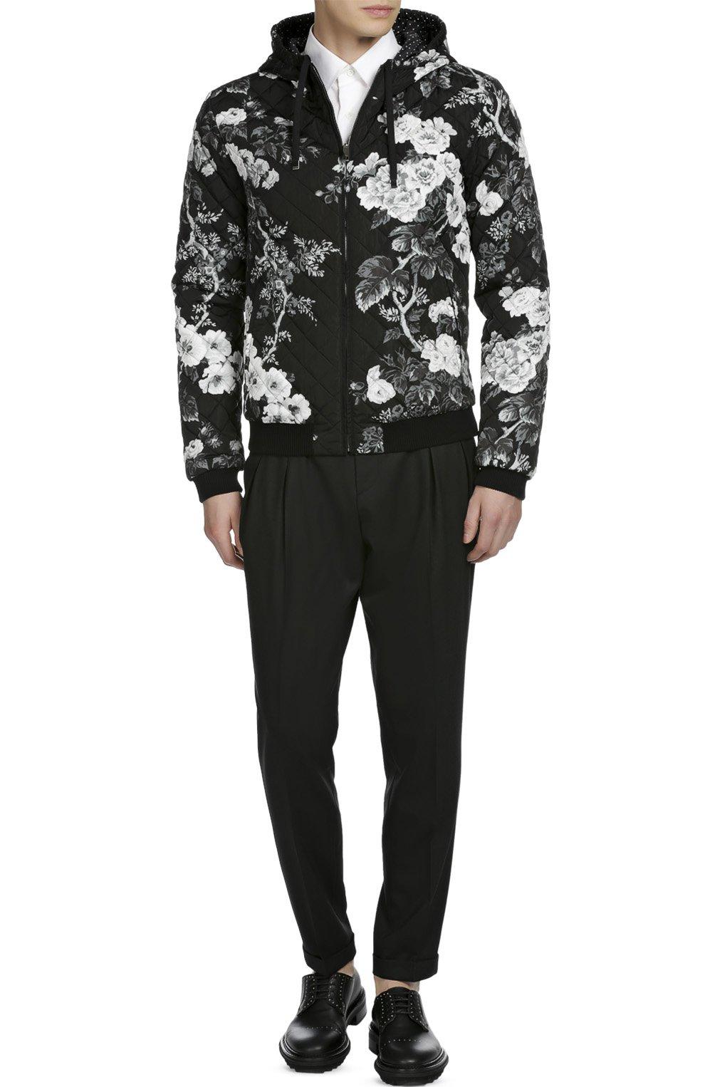 Стеганый бомбер с принтом и капюшоном Dolce & Gabbana черно-белая | Фото №4